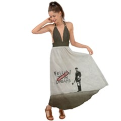 Banksy Graffiti Original Quote Follow Your Dreams Cancelled Cynical With Painter Backless Maxi Beach Dress by snek