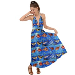 Fish Stamp 2 Backless Maxi Beach Dress