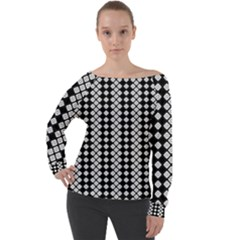 White Plaid Texture Off Shoulder Long Sleeve Velour Top