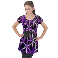 Neurons Brain Cells Imitation Puff Sleeve Tunic Top