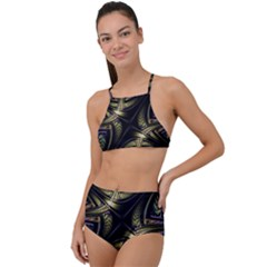 Fractal Texture Pattern High Waist Tankini Set by HermanTelo