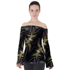 Fractal Texture Pattern Off Shoulder Long Sleeve Top