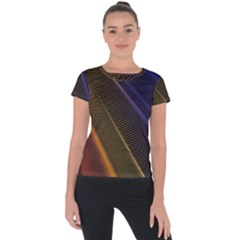 Rainbow Waves Mesh Colorful 3d Short Sleeve Sports Top  by HermanTelo