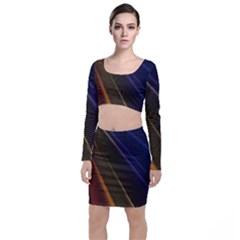 Rainbow Waves Mesh Colorful 3d Top And Skirt Sets