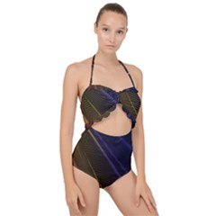 Rainbow Waves Mesh Colorful 3d Scallop Top Cut Out Swimsuit