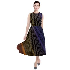 Rainbow Waves Mesh Colorful 3d Round Neck Boho Dress