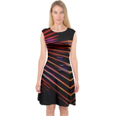 Abstract Neon Background Light Capsleeve Midi Dress