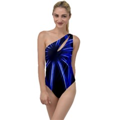 Light Effect Blue Bright Design To One Side Swimsuit