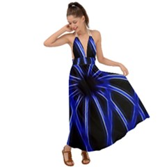 Light Effect Blue Bright Design Backless Maxi Beach Dress