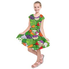 Vegetables Bell Pepper Broccoli Kids  Short Sleeve Dress