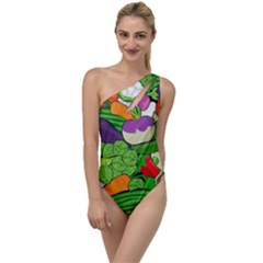 Vegetables Bell Pepper Broccoli To One Side Swimsuit by HermanTelo