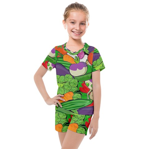 Vegetables Bell Pepper Broccoli Kids  Mesh Tee And Shorts Set by HermanTelo