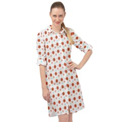 Background Flowers Multicolor Long Sleeve Mini Shirt Dress by HermanTelo