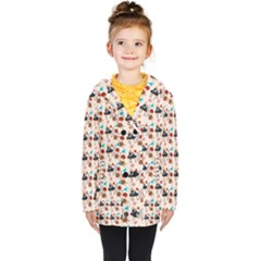 Retro Girls Dress In Black Pattern Kids  Double Breasted Button Coat