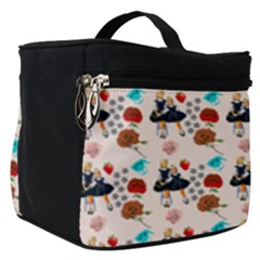 Retro Girls Dress In Black Pattern Make Up Travel Bag (small)