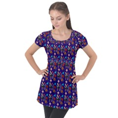Retro Girls Dress In Black Pattern Blue Puff Sleeve Tunic Top