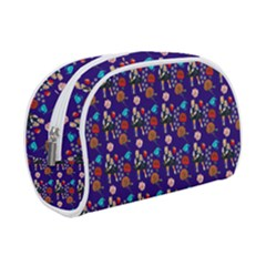 Retro Girls Dress In Black Pattern Blue Makeup Case (small)