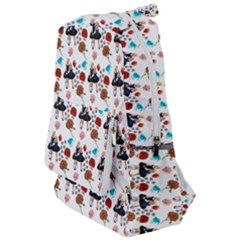 Retro Girls Dress In Black Pattern White Travelers  Backpack