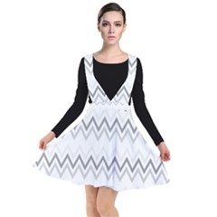 Chevrons Gris/blanc Plunge Pinafore Dress