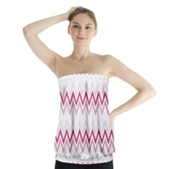 Chevrons Rose/blanc Strapless Top