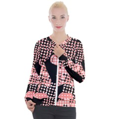 Abstrait Effet Formes Noir/rose Casual Zip Up Jacket by kcreatif