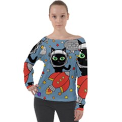 Space Cat   Houston We Have A Problem Off Shoulder Long Sleeve Velour Top