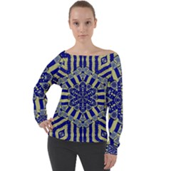 Wood Flower And Matches Mandala Vintage Off Shoulder Long Sleeve Velour Top