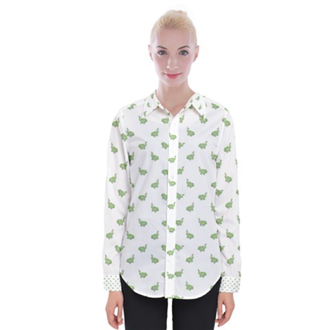 Iguana Sketchy Cartoon Style Drawing Pattern 2 Womens Long Sleeve Shirt by dflcprintsclothing