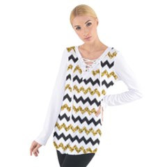 Black And Gold Glitters Zigzag Retro Pattern Golden Metallic Texture Tie Up Tee by genx