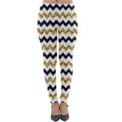 Black And Gold Glitters Zigzag Retro Pattern Golden Metallic Texture Lightweight Velour Leggings by genx