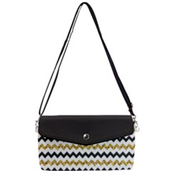 Black And Gold Glitters Zigzag Retro Pattern Golden Metallic Texture Removable Strap Clutch Bag by genx