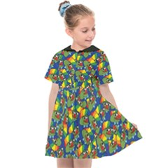 Clown World Pepe The Frog Honkhonk Meme Kekistan Funny Pattern Blue  Kids  Sailor Dress by snek