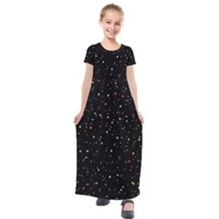 Abstract Colorful Glitters Background Vector Kids  Short Sleeve Maxi Dress