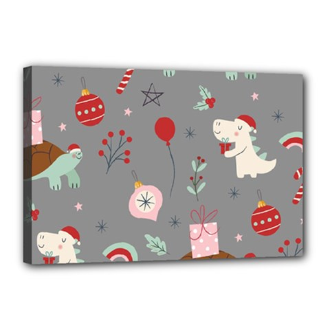 Funny Christmas Pattern Canvas 18  X 12  (stretched)