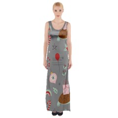 Funny Christmas Pattern Thigh Split Maxi Dress