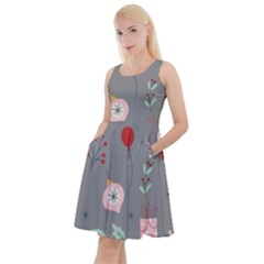 Funny Christmas Pattern Knee Length Skater Dress With Pockets