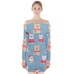 Cute French Bulldog Puppy Dog Christmas Costume Seamless Pattern Long Sleeve Off Shoulder Dress