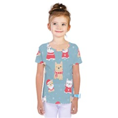 Cute French Bulldog Puppy Dog Christmas Costume Seamless Pattern Kids  One Piece Tee