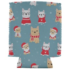 Cute French Bulldog Puppy Dog Christmas Costume Seamless Pattern Can Holder
