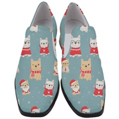 Cute French Bulldog Puppy Dog Christmas Costume Seamless Pattern Women Slip On Heel Loafers