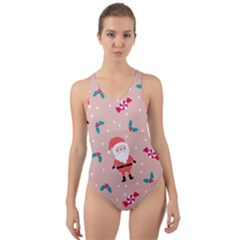 Cute Christmas Santa Seamless Pattern Cut Out Back One Piece Swimsuit