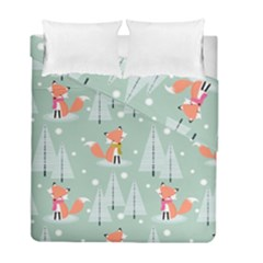 Cute Fox Christmas Winter Seamless Pattern Duvet Cover Double Side (full/ Double Size)