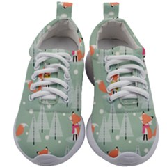 Cute Fox Christmas Winter Seamless Pattern Kids Athletic Shoes
