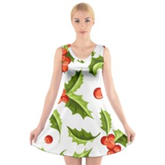 Christmas Holly Berry Seamless Pattern V Neck Sleeveless Dress
