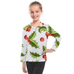 Christmas Holly Berry Seamless Pattern Kids  Long Mesh Tee