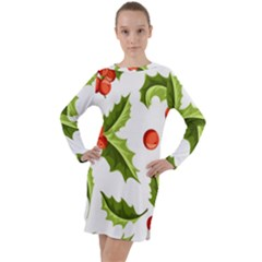 Christmas Holly Berry Seamless Pattern Long Sleeve Hoodie Dress