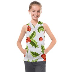Christmas Holly Berry Seamless Pattern Kids  Sleeveless Hoodie