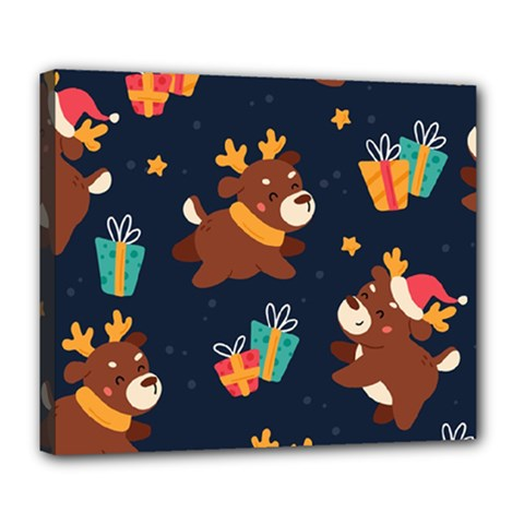 Colorful Funny Christmas Pattern Deluxe Canvas 24  X 20  (stretched)