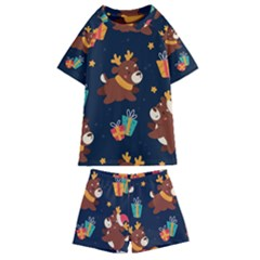 Colorful Funny Christmas Pattern Kids  Swim Tee And Shorts Set by Vaneshart