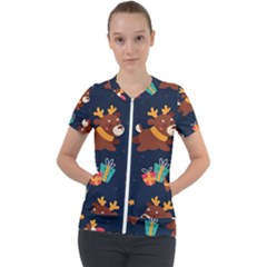 Colorful Funny Christmas Pattern Short Sleeve Zip Up Jacket